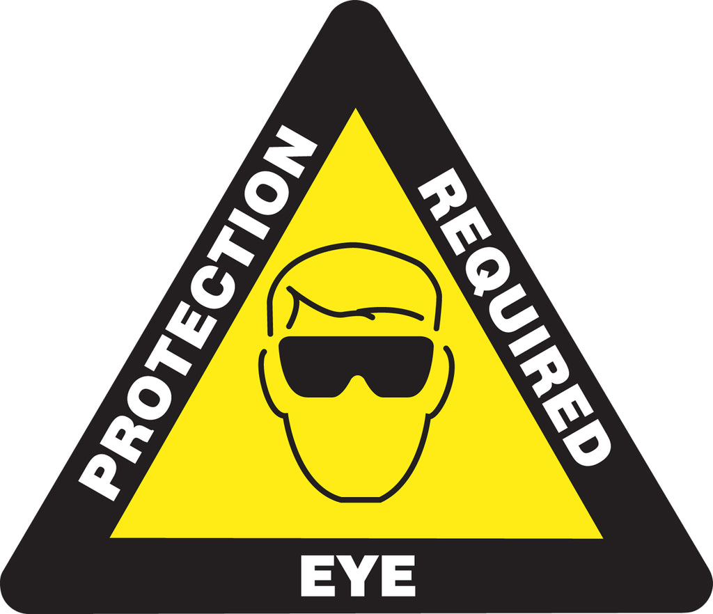 Slip-Gard™ Floor Sign - Eye Protection Required - Triangle 17""