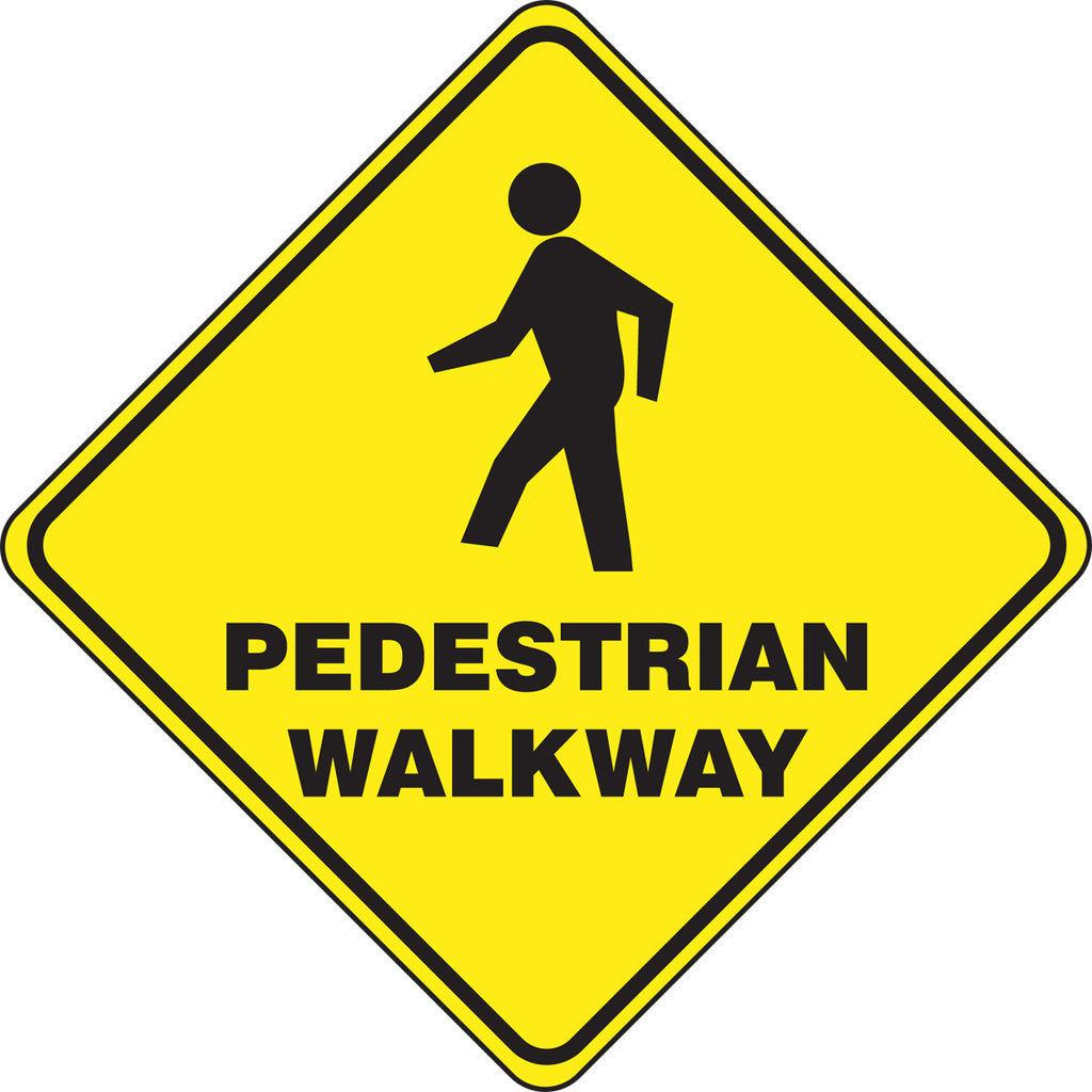 Slip-Gard™ Floor Sign - Pedestrian Walkway - Diamond 17""