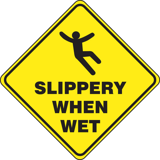 Slip-Gard™ Floor Sign - Slippery When Wet - Diamond 17""