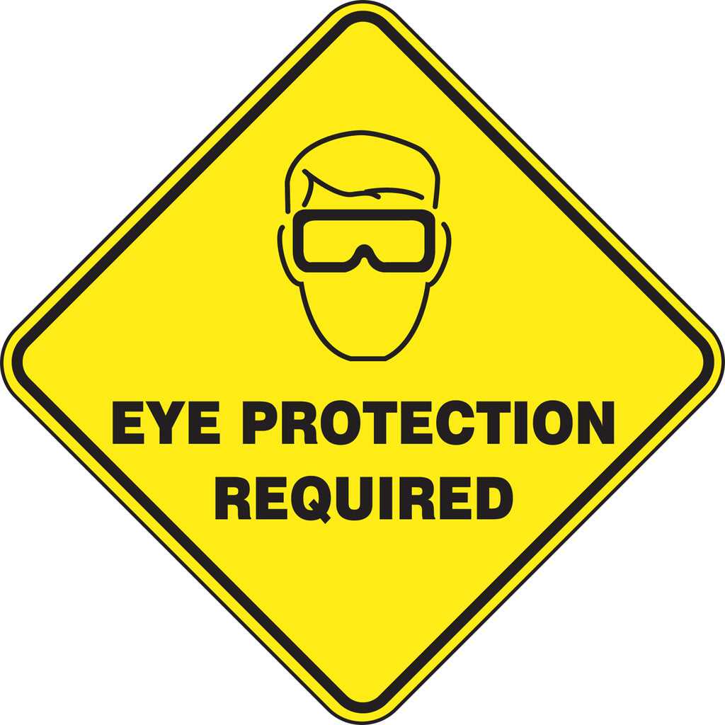 Slip-Gard™ Floor Sign - Eye Protection Required - Diamond 17""