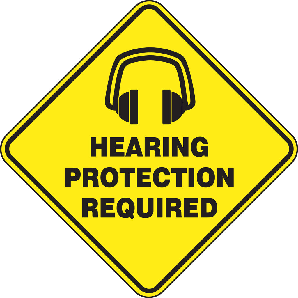 Slip-Gard™ Floor Sign - Hearing Protection Required - Diamond 17""