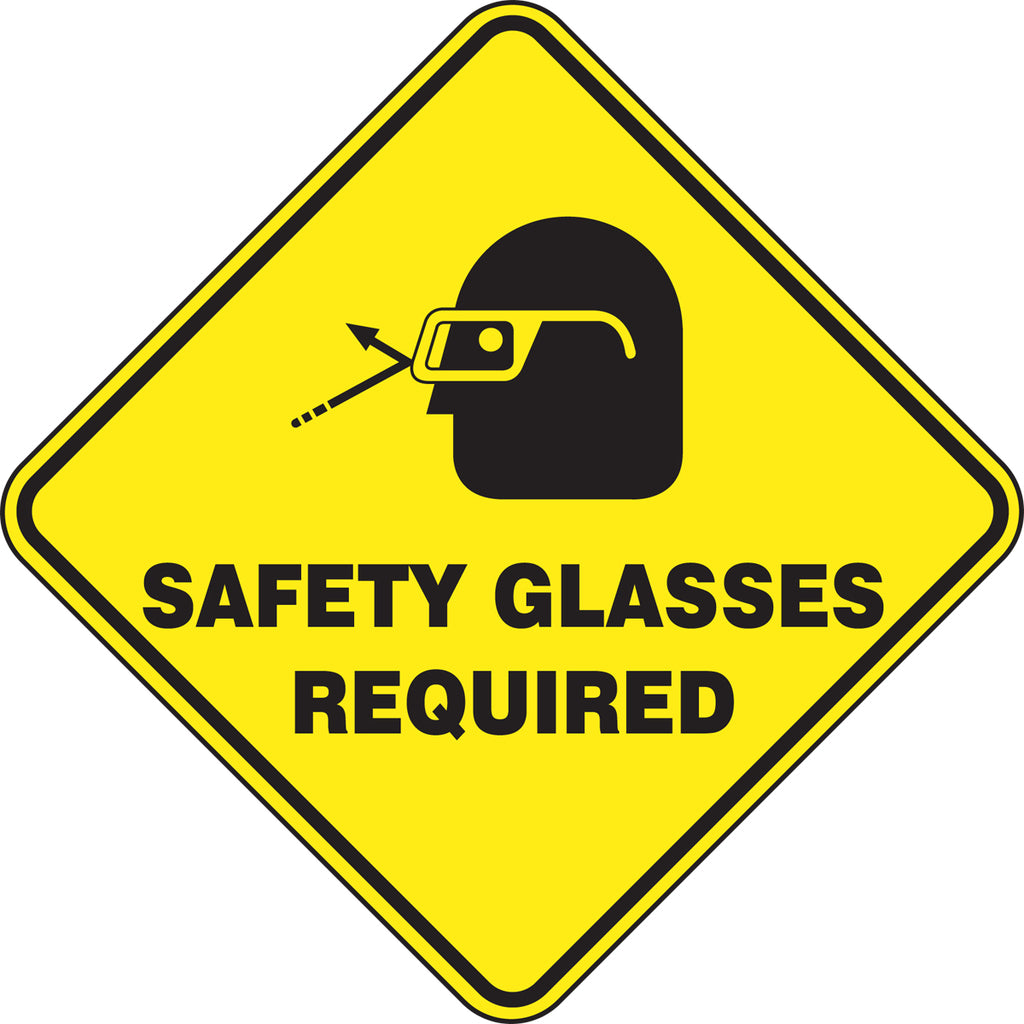 Slip-Gard™ Floor Sign - Safety Glasses Required - Diamond 17""