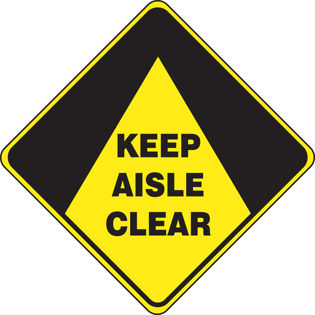 Slip-Gard™ Floor Sign - Keep Aisle Clear - Diamond 17""