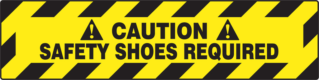 "Slip-Gard™ Floor Sign - Caution Safety Shoes Required - 6"" x 24"""