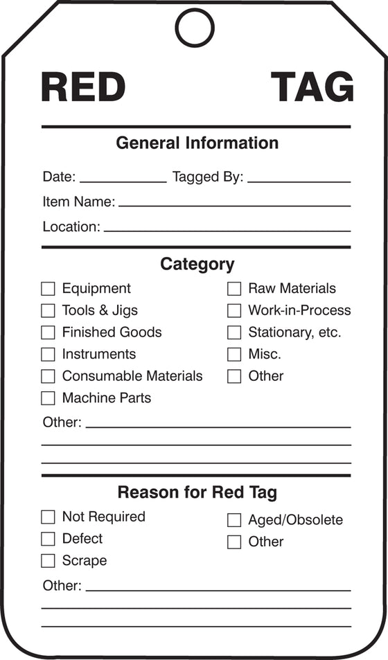 "Production Control Tag - 5S ISO RED TAG 25/PK - 5 3/4"" x 3 1/4"""