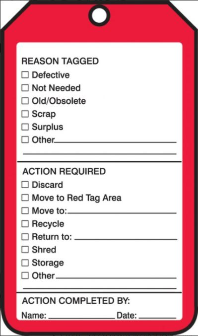 "Tags By-The-Roll - 5S RED TAG - 6 1/4"" X 3"" - 6 5/8"" x 6 5/8"" x 3 5/8"""