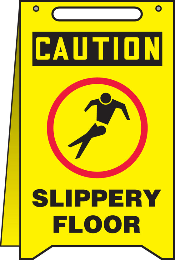 Fold-Ups® Floor Sign - CAUTION SLIPPERY FLOOR -