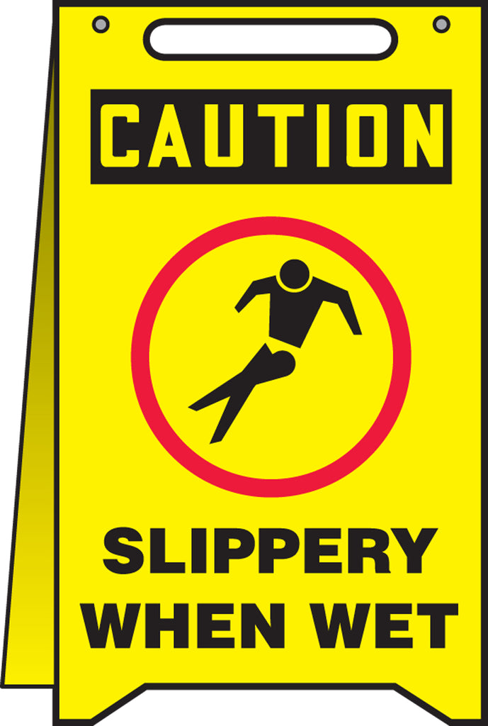 Fold-Ups® Floor Sign - CAUTION SLIPPERY WHEN WET -