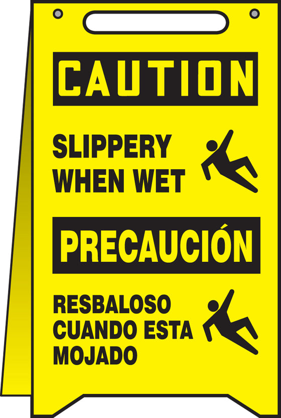 Fold-Ups® Spanish Bilingual Floor Sign - CAUTION SLIPPERY WHEN WET -