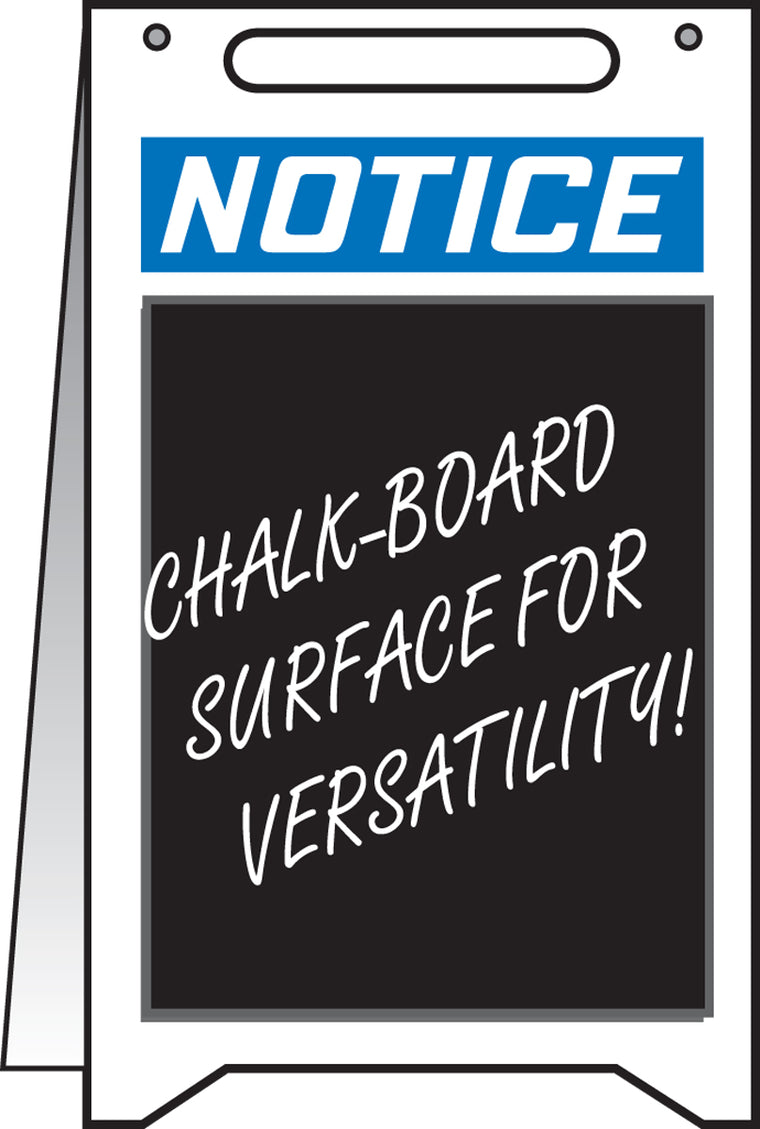 Fold-Ups® Floor Sign - NOTICE (WITH CHALKBOARD AREA) -