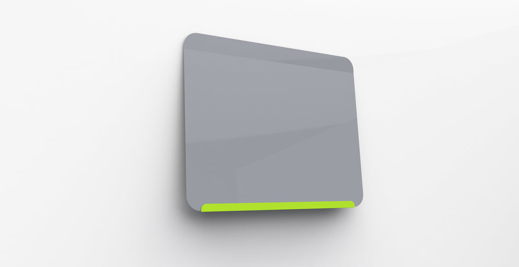 "Ghent Link Board Magnetic Whiteboard - Lime Green Base/Gray Face - 24"" H x 30"" W"