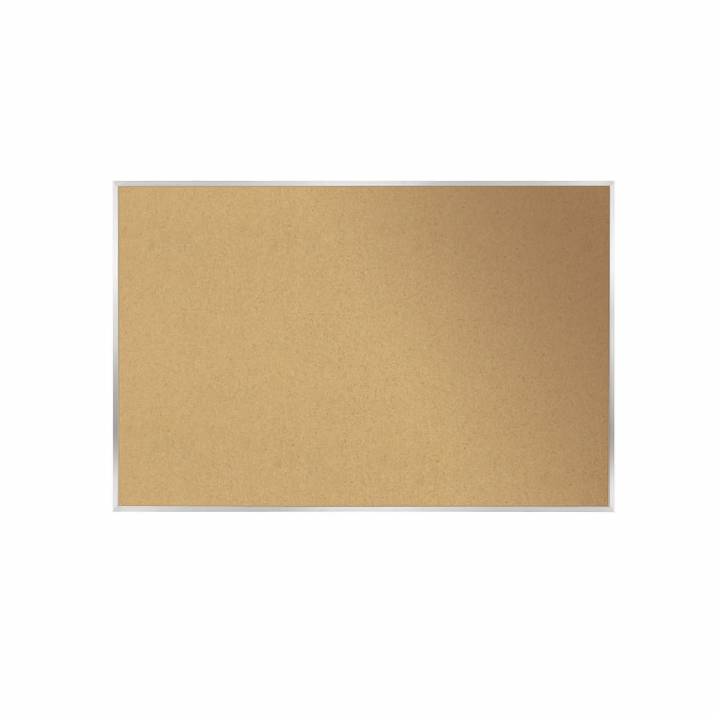 "Ghent Natural Cork Bulletin Board with Aluminum Frame - 18"" H x 24"" W"