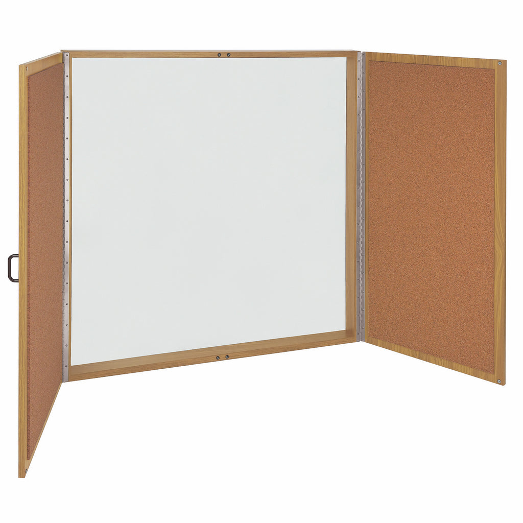 Ghent Magnetic Porcelain Whiteboard Cabinet with Cork Interior Doors - Oak - 4' H x 4' W