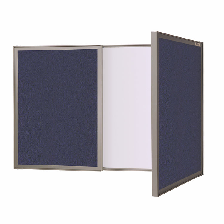 Ghent VisuALL PC Whiteboard Cabinet with Fabric Bulletin Board Exterior Doors - Blue
