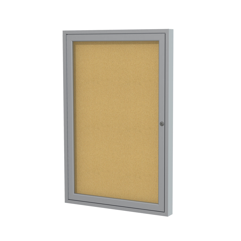"Ghent Enclosed Natural Cork Bulletin Board with Satin Frame - 36"" H x 30"" W"