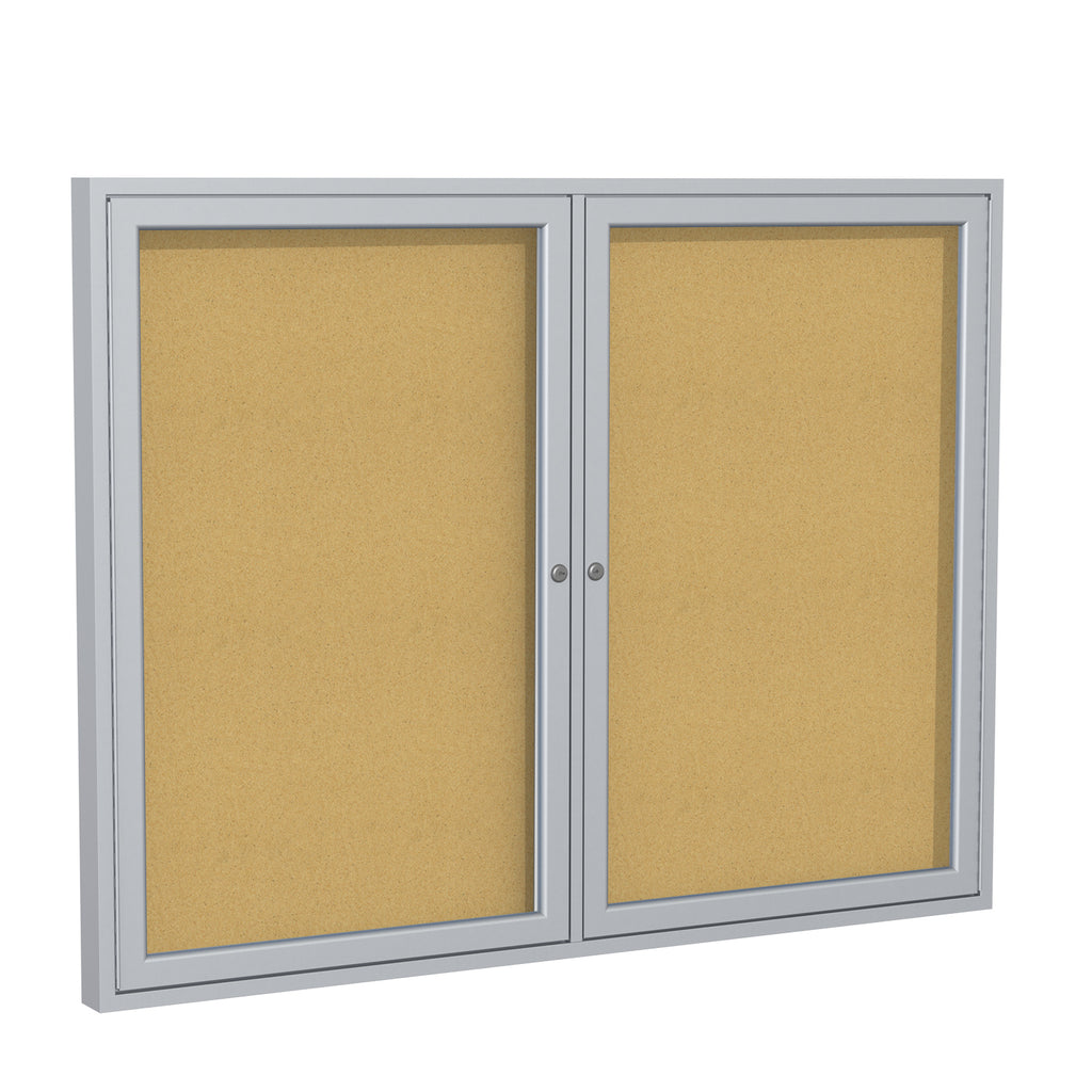 Ghent Enclosed Natural Cork Bulletin Board with Satin Frame - 3' H x 5' W