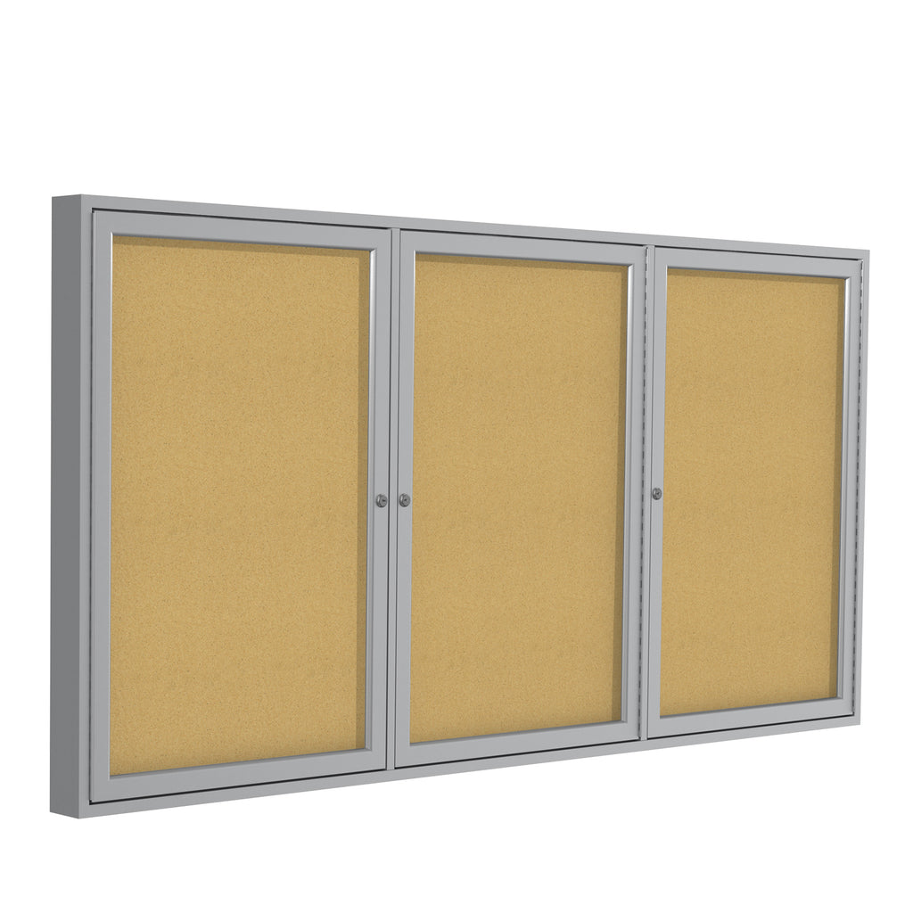 Ghent Enclosed Natural Cork Bulletin Board with Satin Frame - 4' H x 8' W