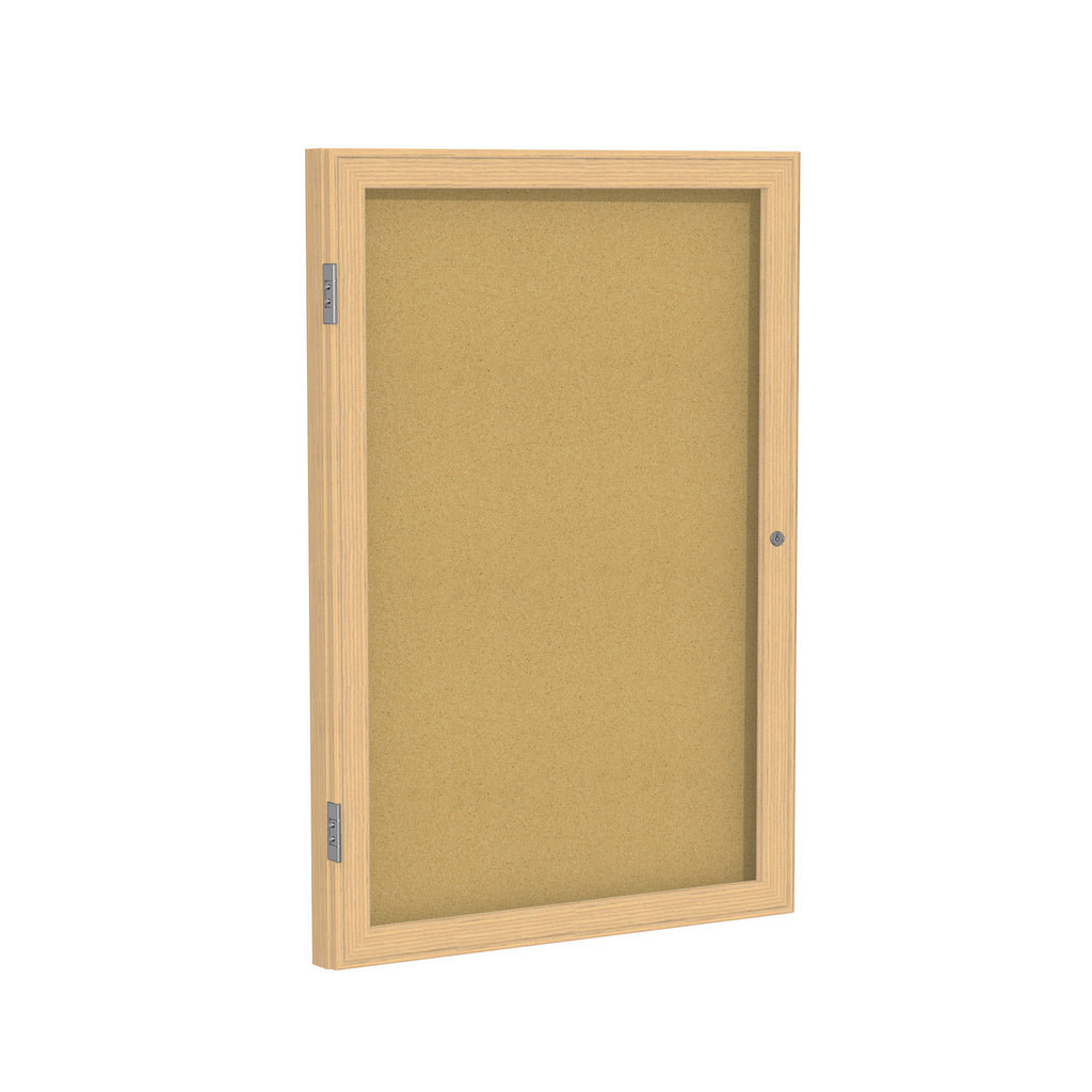 "Ghent Enclosed Natural Cork Bulletin Board with Oak Wood Frame - 36"" H x 30"" W"