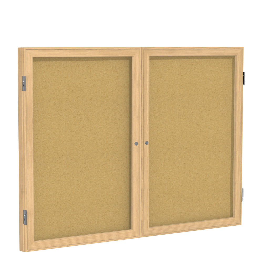 Ghent Enclosed Natural Cork Bulletin Board with Oak Wood Frame - 3' H x 5' W