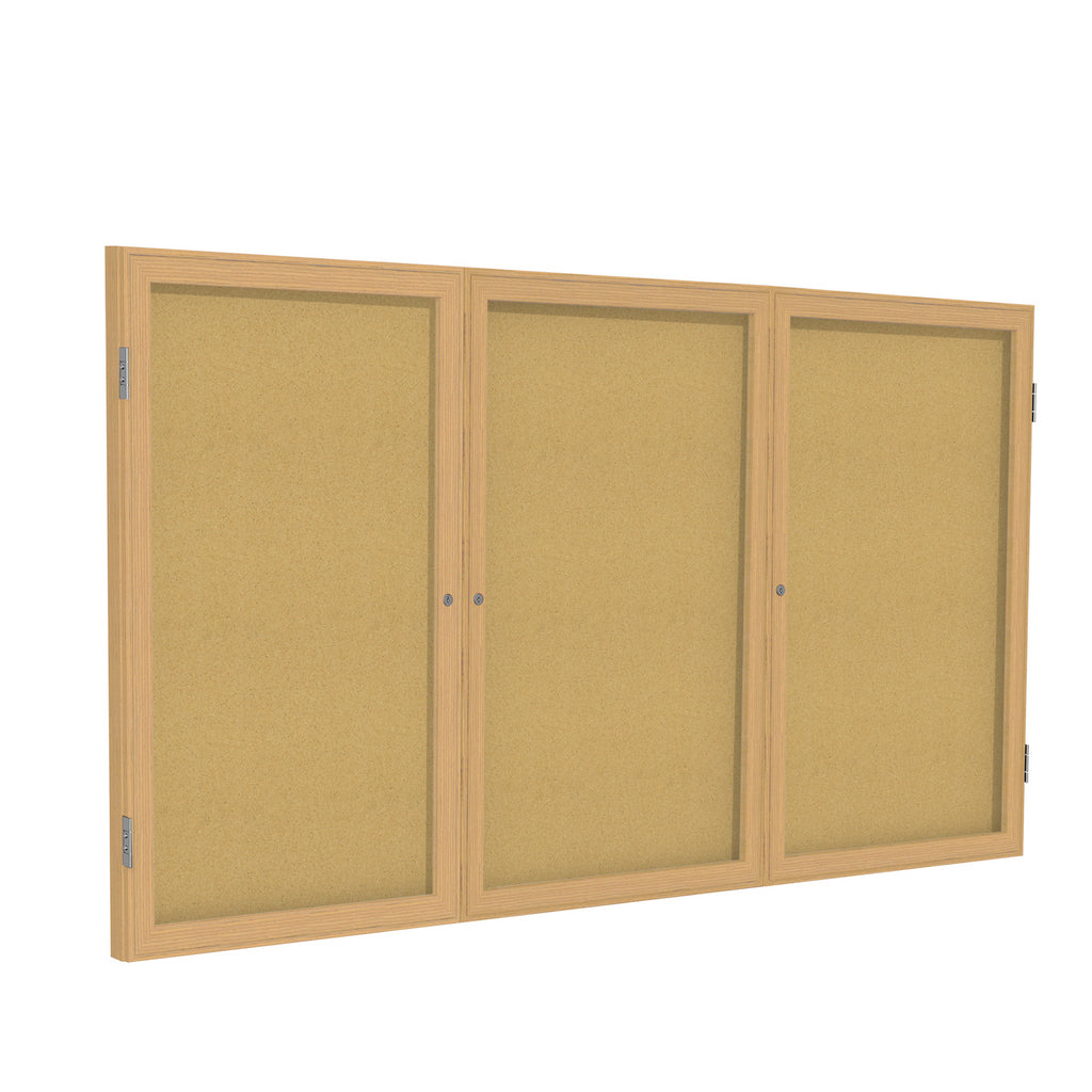 Ghent Enclosed Natural Cork Bulletin Board with Oak Wood Frame - 3' H x 6' W