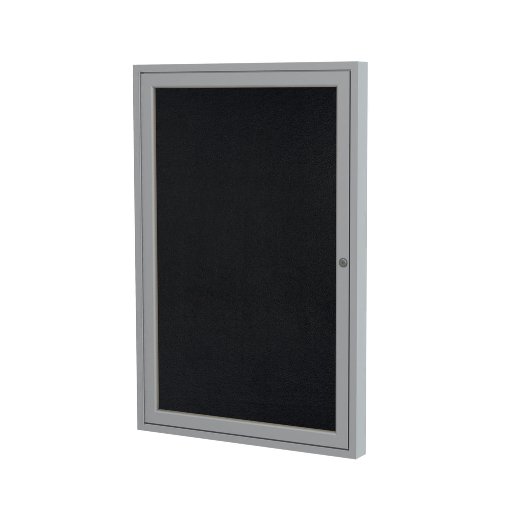 "Ghent Enclosed Recycled Rubber Bulletin Board with Satin Frame - 36"" H x 30"" W"