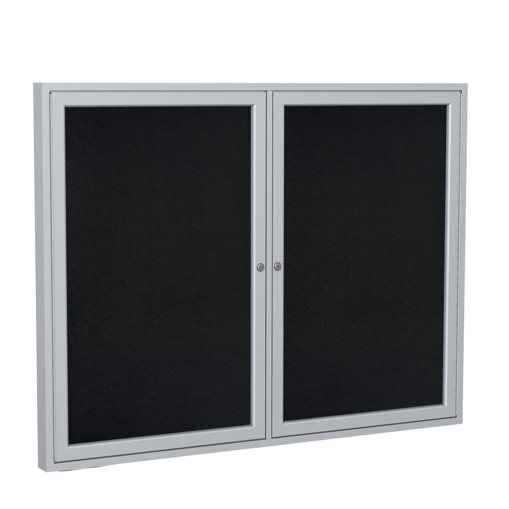 Ghent Enclosed Recycled Rubber Bulletin Board with Satin Frame - 3' H x 4' W