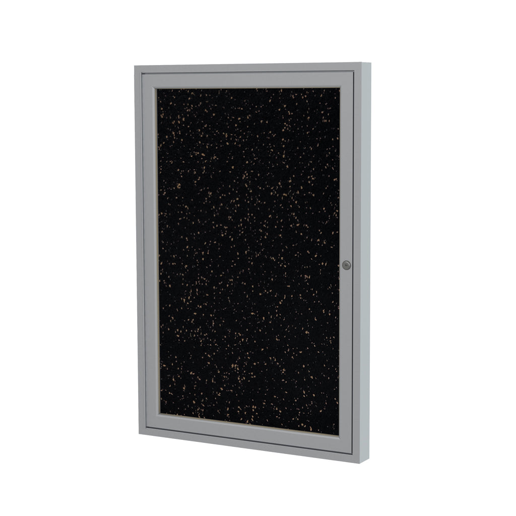 "Ghent Enclosed Recycled Rubber Bulletin Board with Satin Frame - 24"" H x 18"" W"