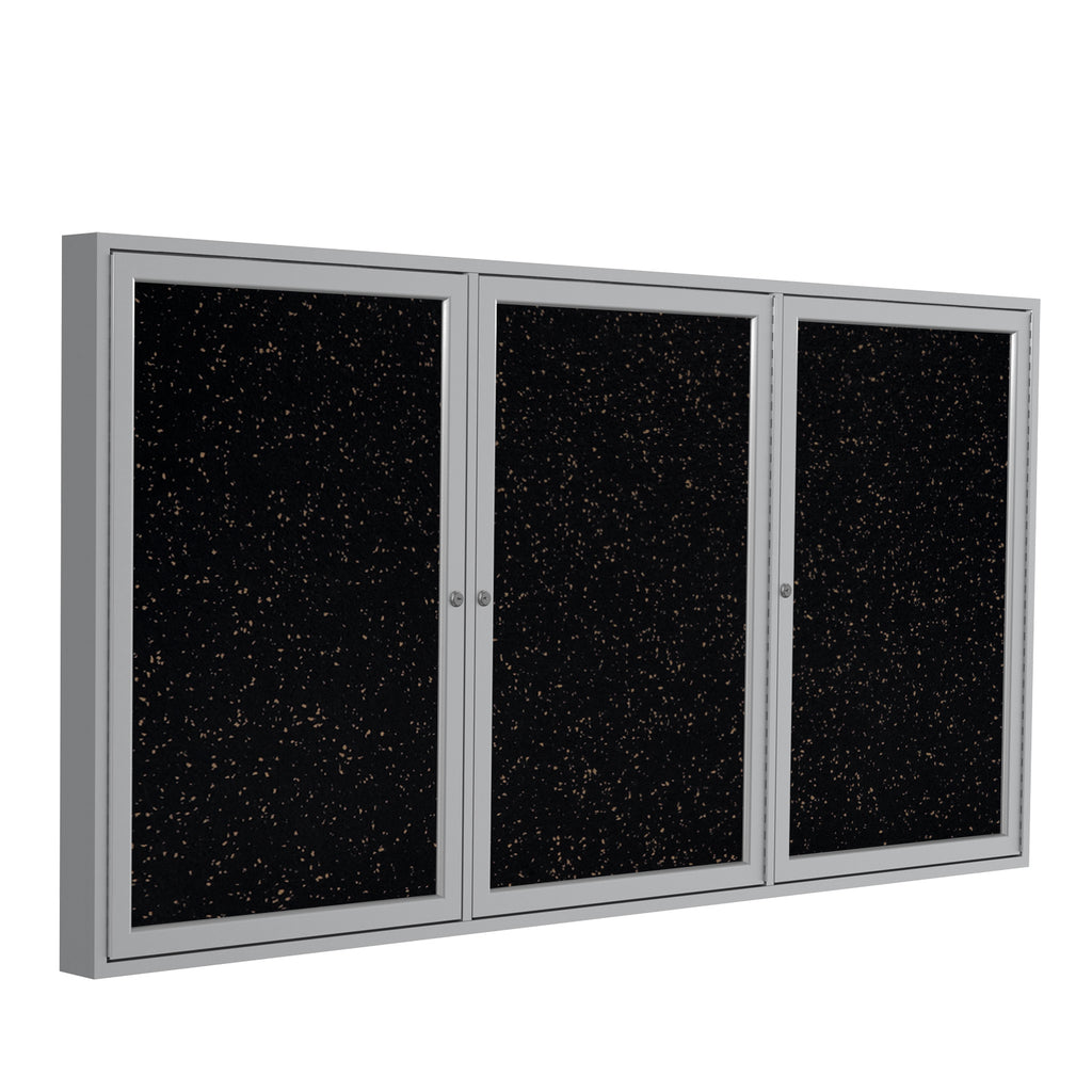 Ghent Enclosed Recycled Rubber Bulletin Board with Satin Frame - 3' H x 6' W