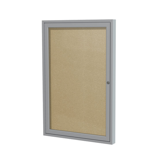 "Ghent Enclosed Vinyl Bulletin Board with Satin Frame - 24"" H x 18"" W"