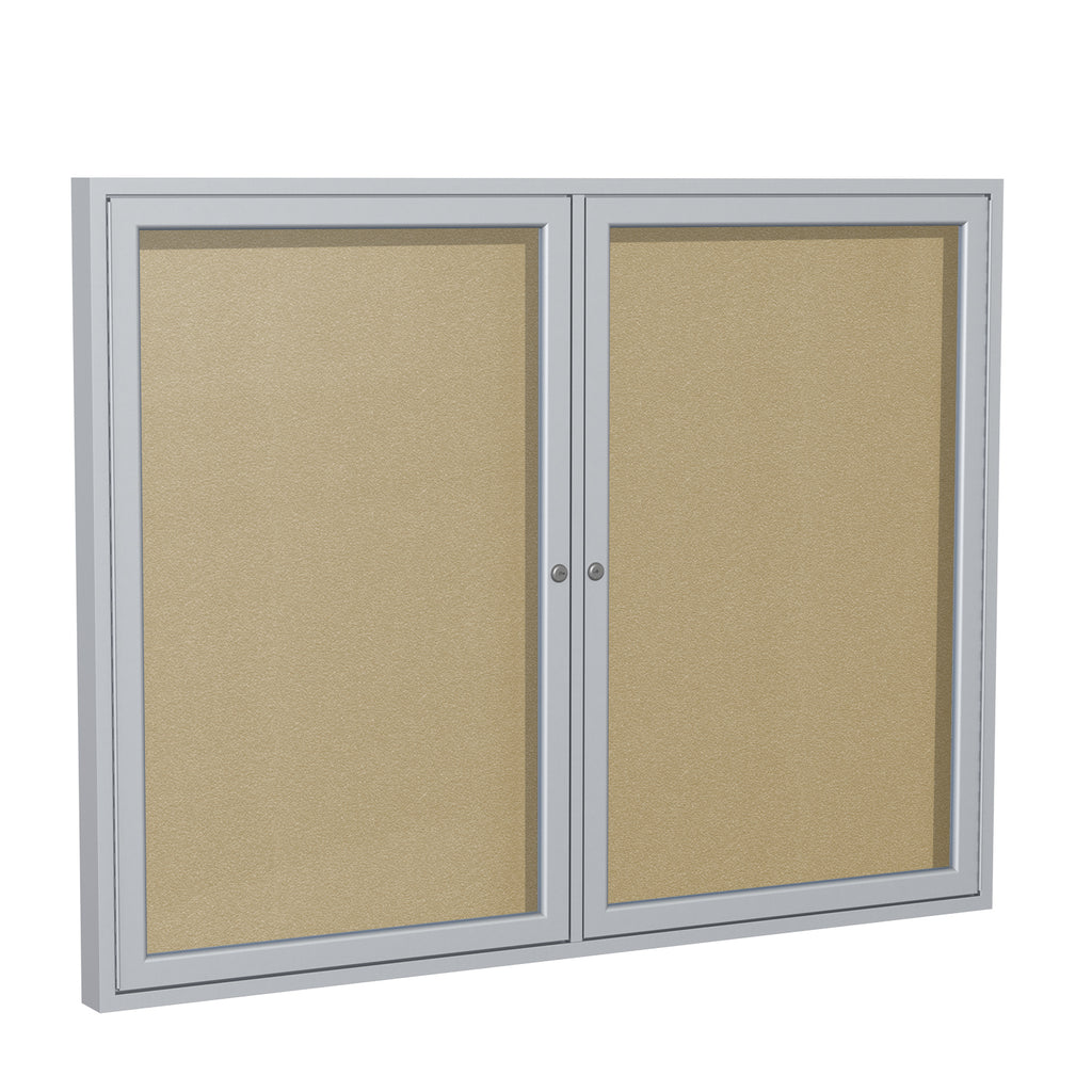 Ghent Enclosed Vinyl Bulletin Board with Satin Frame - 3' H x 4' W