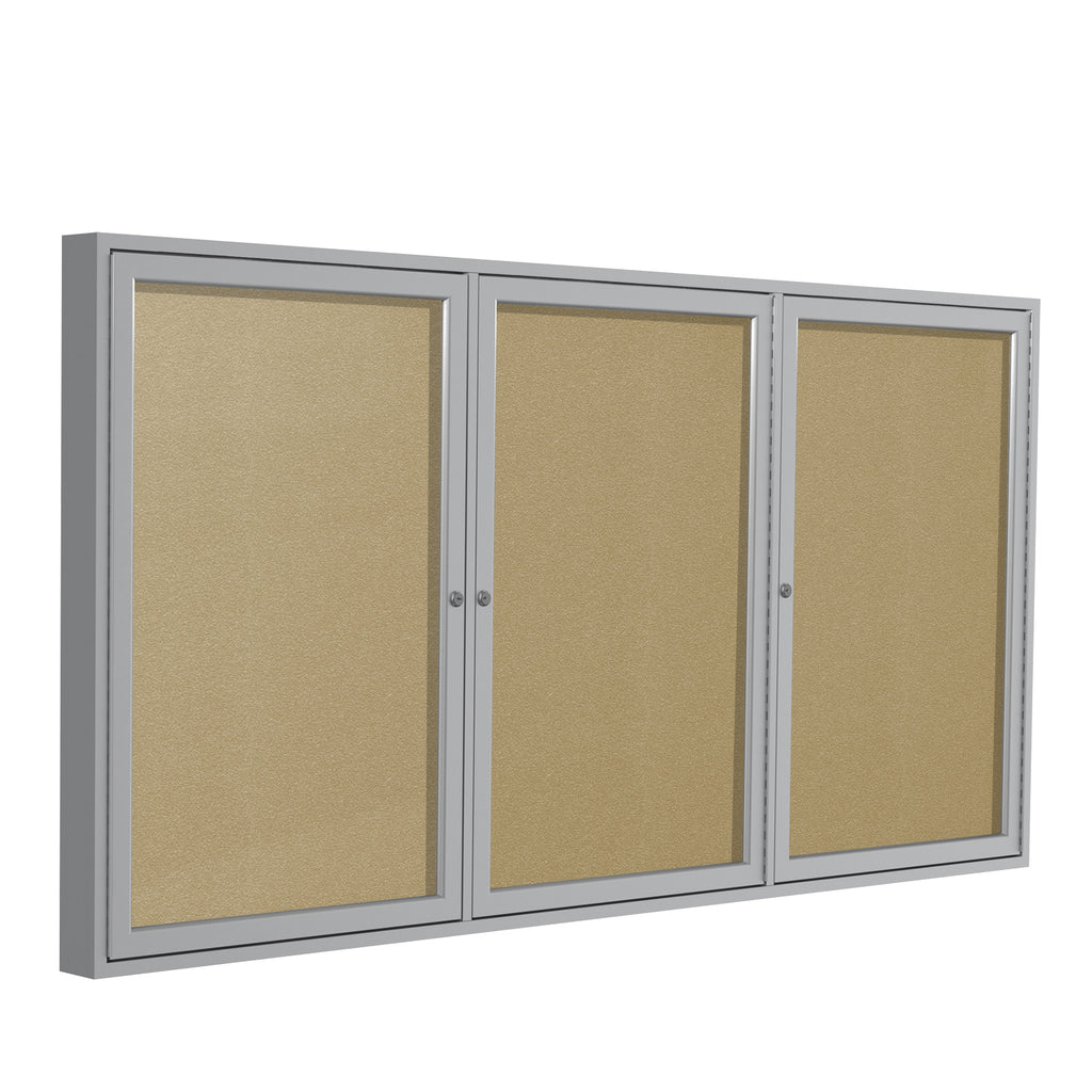 Ghent Enclosed Vinyl Bulletin Board with Satin Frame - 3' H x 6' W