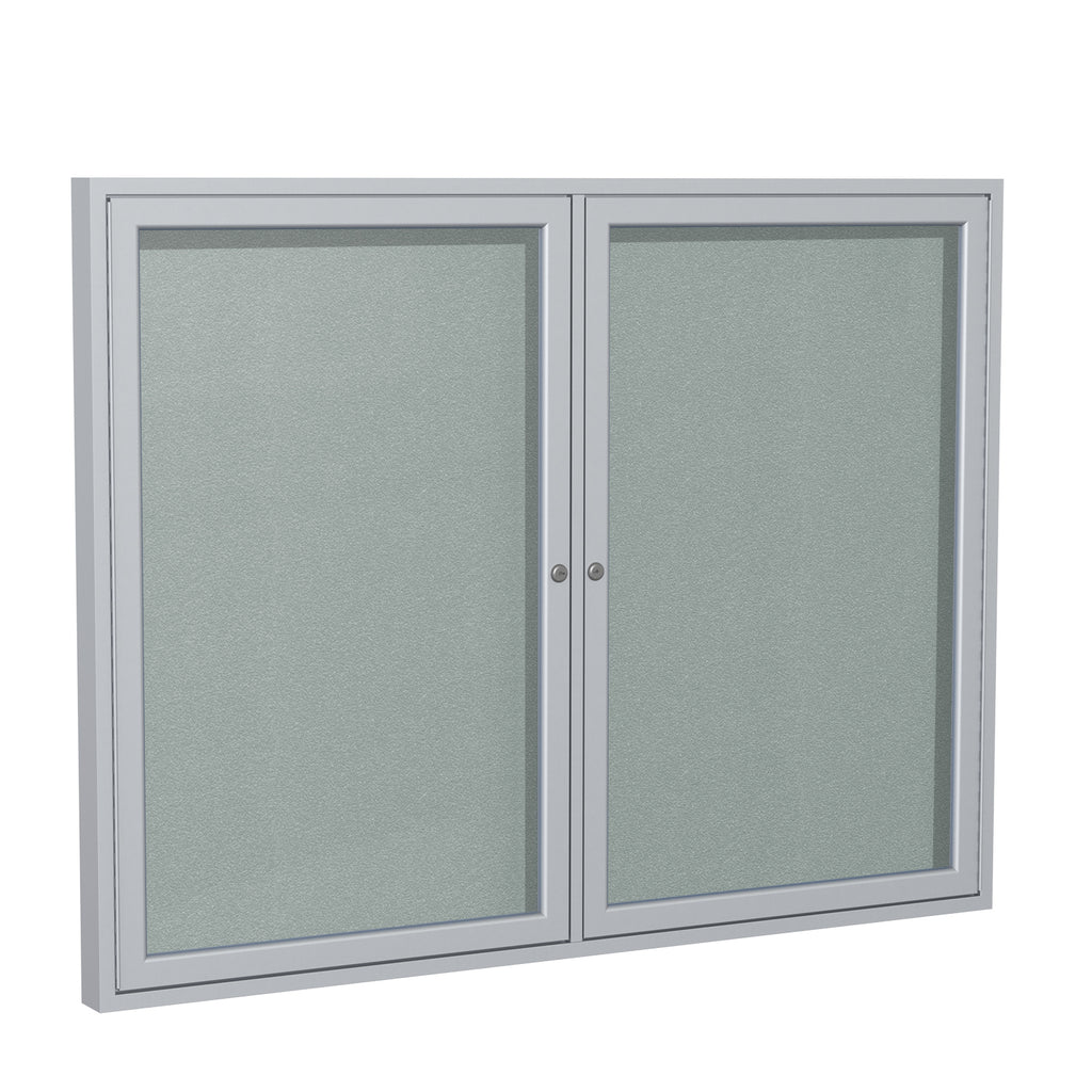 Ghent Enclosed Vinyl Bulletin Board with Satin Frame - 3' H x 5' W
