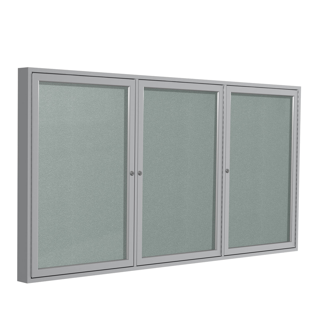 Ghent Enclosed Vinyl Bulletin Board with Satin Frame - 4' H x 8' W