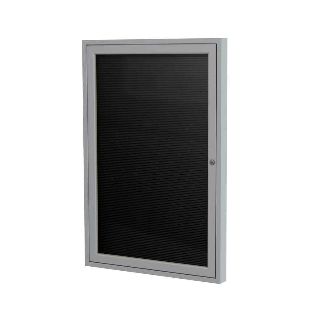 "Ghent Enclosed Black Letter Board with Satin Aluminum Frame - 36"" H x 30"" W"