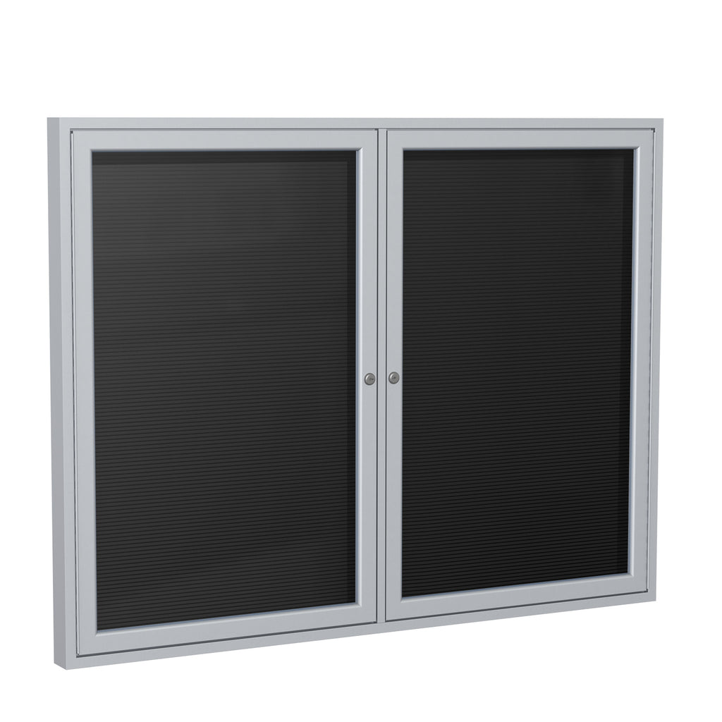 Ghent Enclosed Black Letter Board with Satin Aluminum Frame - 3' H x 4' W