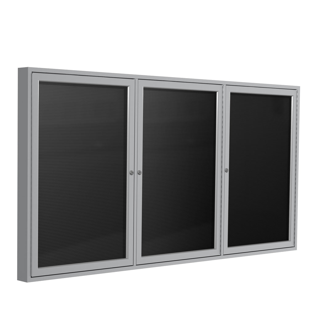 Ghent Enclosed Black Letter Board with Satin Aluminum Frame - 3' H x 6' W