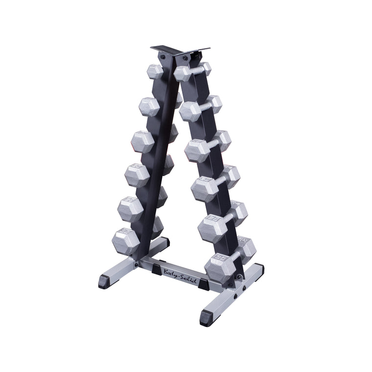2 Tier Vertical Dumbbell Rack with Rubber Hex Dumbell Set 5-30LBS