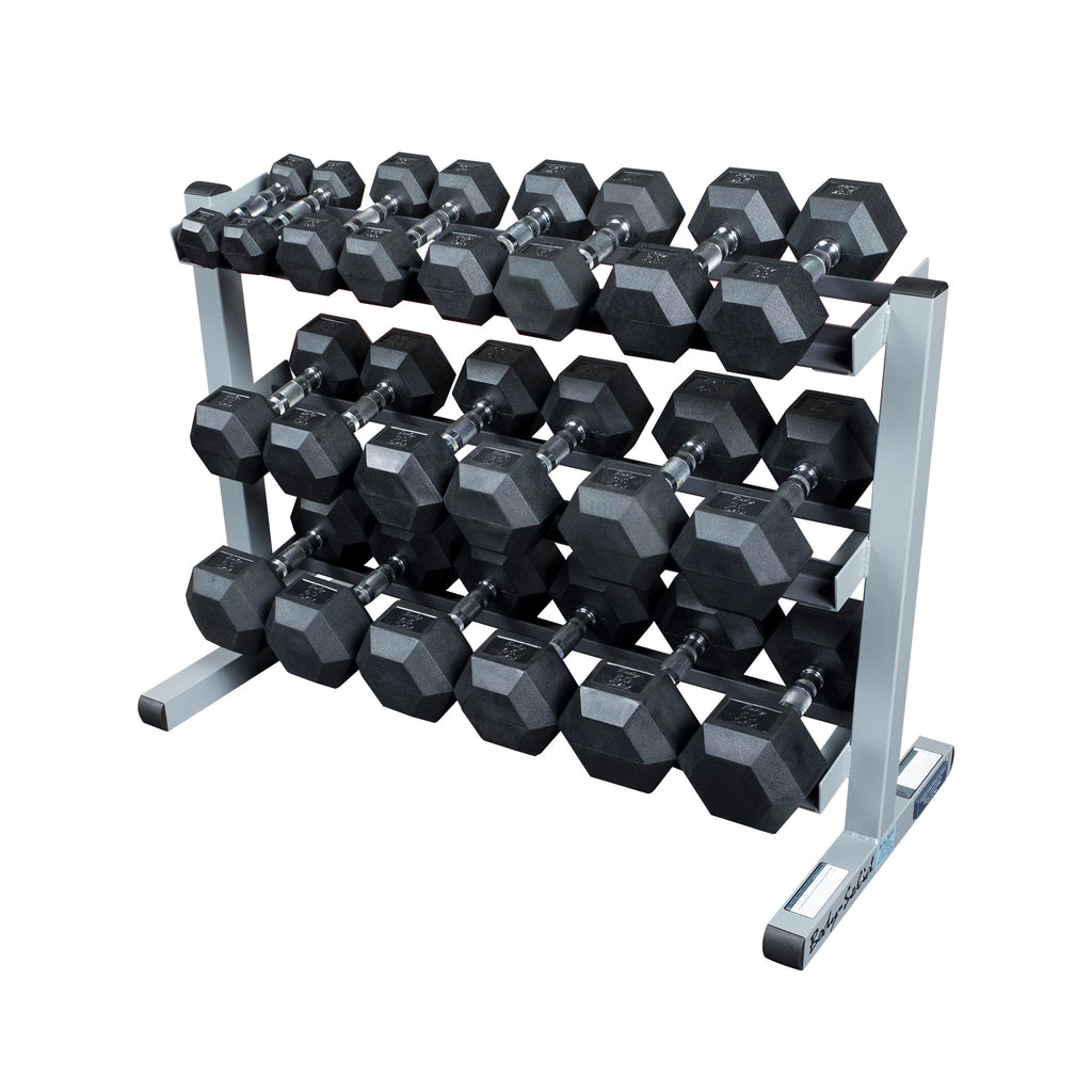 3 Tier Dumbbell Rack with Rubber Hex Dumbell Set 5-50LBS