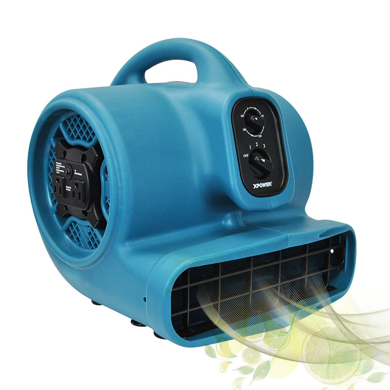XPOWER Freshen Aire 1/3 HP 3 Speeds Scented Air Mover with Timer and Power Outlets