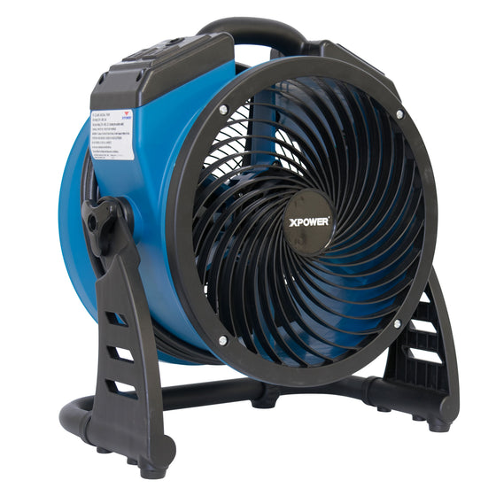 "XPOWER 1100 CFM 11"" Industrial Axial Air Mover with Power Outlets"
