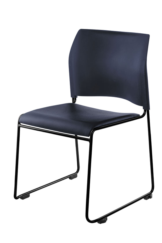 8700 Series Cafetorium Plush Vinyl Stack Chair Blue, Black Frame
