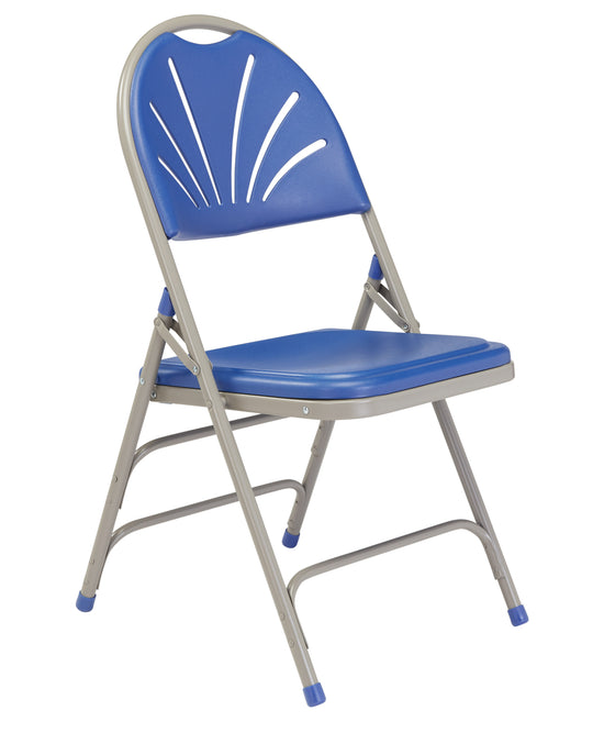 1100 Series Deluxe Fan Back Folding Chair Blue