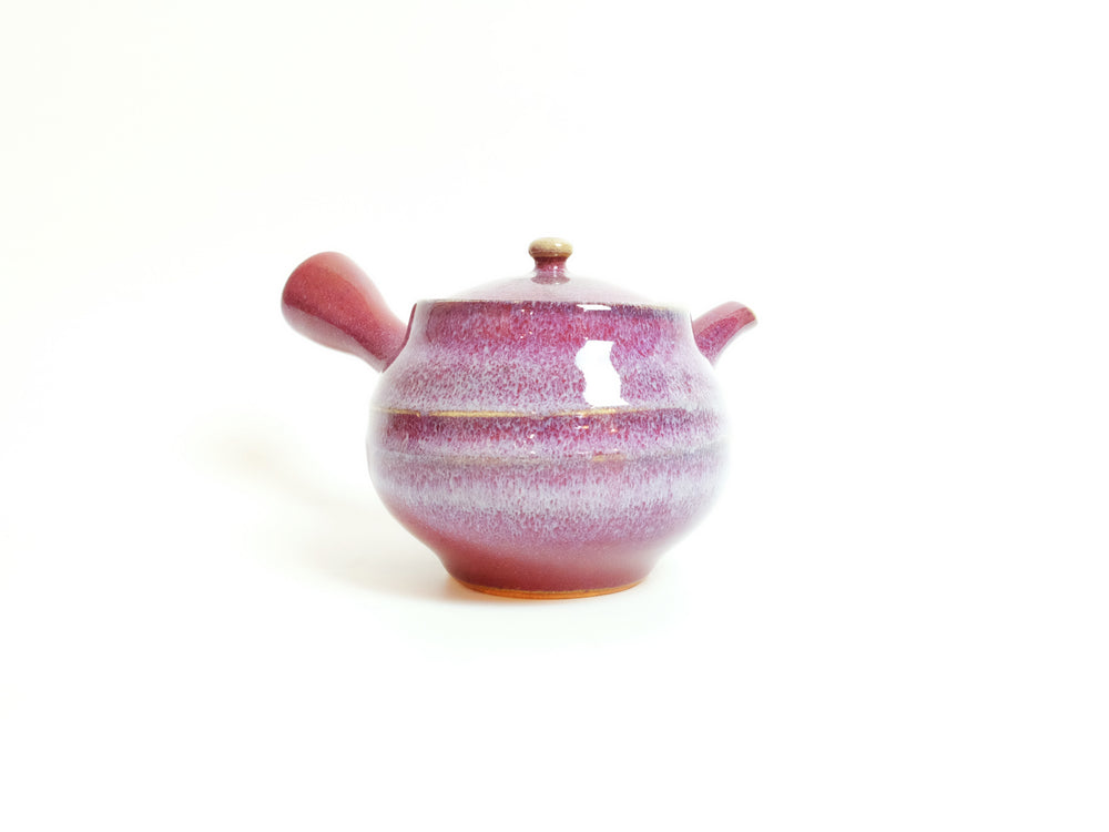 Load image into Gallery viewer, Crimson Peach Kyusu Tea Pot by Hiroshi Otsu