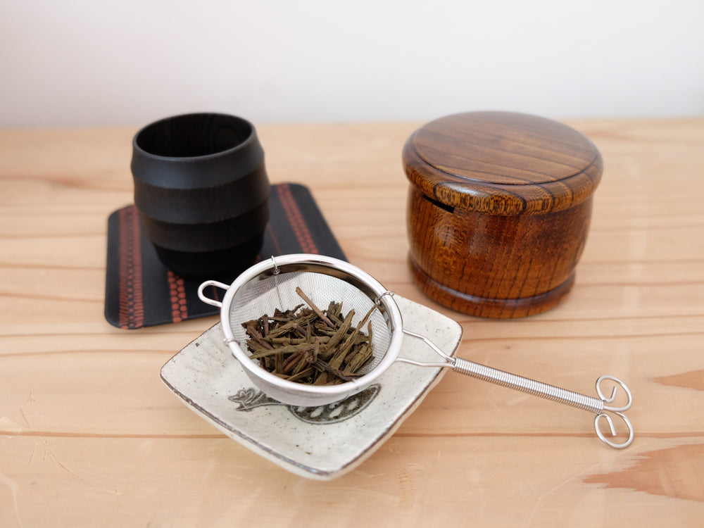 'Taiko' Wood Tea Strainer Set by Gato Mikio