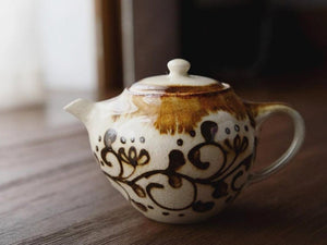 Load image into Gallery viewer, Small Caramel Edge Tea Pot by Aya Kondo