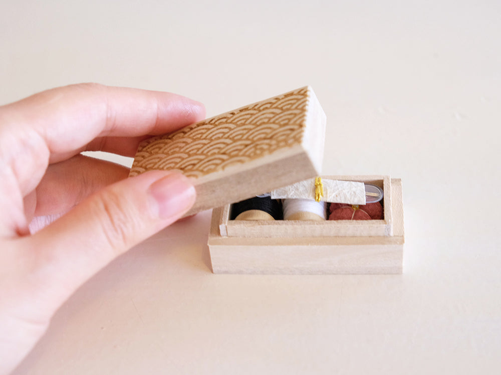 Load image into Gallery viewer, Small Sewing Box by Hiro (Seigaiha wave pattern)