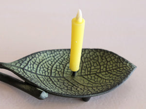 Cast Iron Candle Holder by Takazawa Candle : Ichiyou Leaf