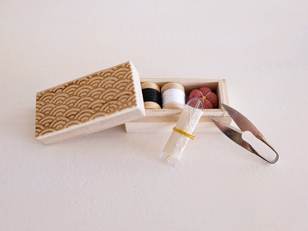 Small Sewing Box by Hiro (Seigaiha wave pattern)