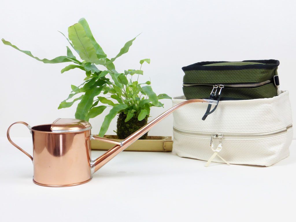 Metal Pitcher with Kokedama and Cabas