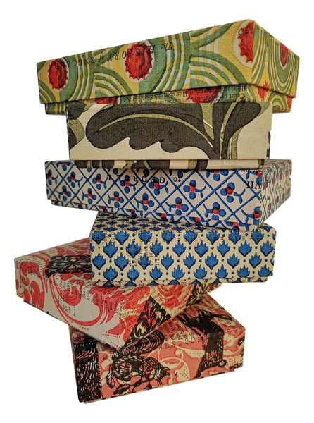 book boxes covered with hand printed paper